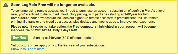 LogMeIn message advising of Free service termination