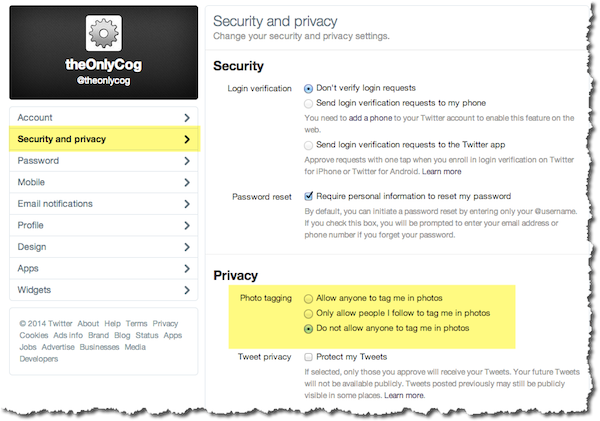 Photo tagging privacy option in Twitter