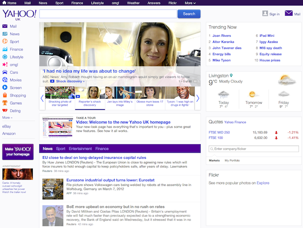 The updated Yahoo home page