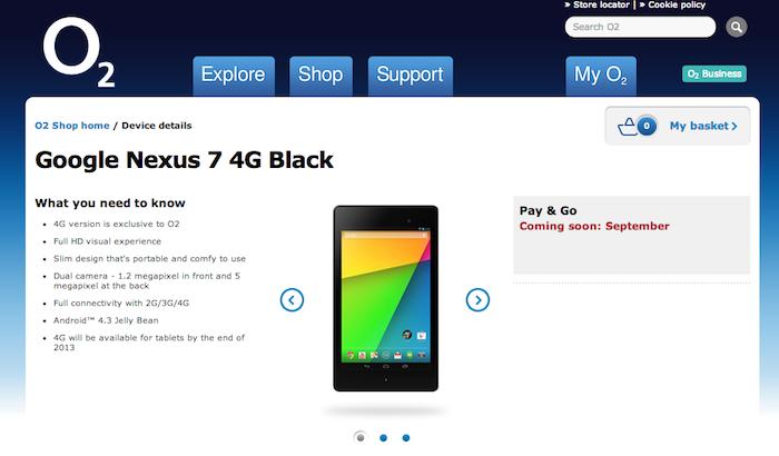 O2 Nexus 7 details