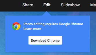Chrome only for Google Plus photo editor