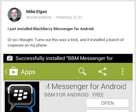 Mike Elgan BBM error