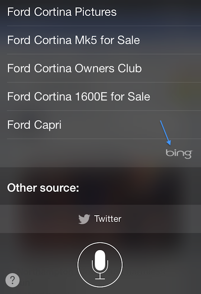 Siri showing bing use